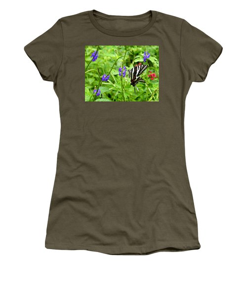 Zebra Swallowtail On Blue Porterweed Women's T-Shirt (Athletic Fit)