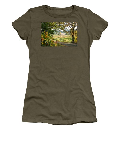 Fall At Grays River Covered Bridge Women's T-Shirt (Athletic Fit)