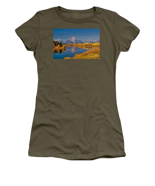 Fall Colors At Oxbow Bend In Grand Teton National Park Women's T-Shirt (Junior Cut) by Sam Antonio Photography