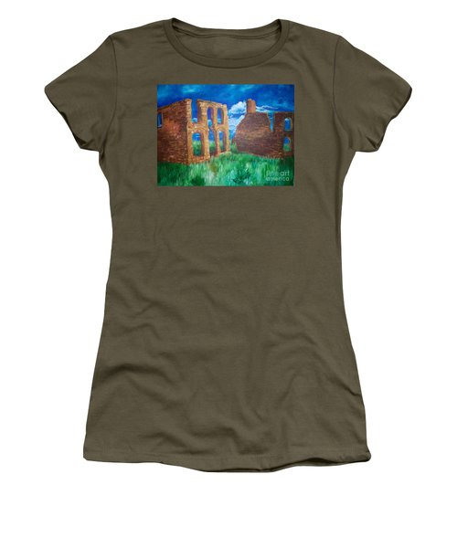 Women's T-Shirt (Junior Cut) featuring the painting  Ghost Town  by Eric  Schiabor