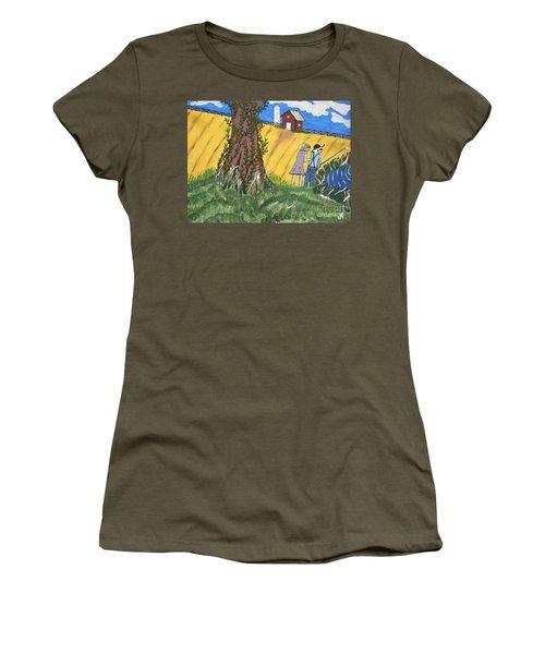Women's T-Shirt (Junior Cut) featuring the painting  I Got A Big One. by Jeffrey Koss