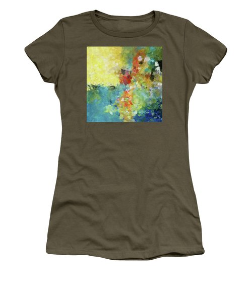 Women's T-Shirt (Junior Cut) featuring the painting Abstract Seascape Painting by Ayse Deniz