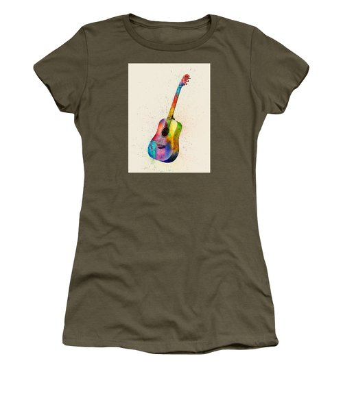 Acoustic Guitar Abstract Watercolor Women's T-Shirt