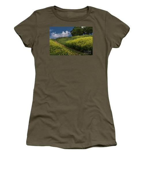 Almaden Meadows' Mustard Blossoms Women's T-Shirt (Athletic Fit)