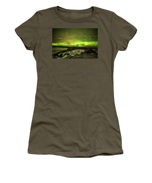Aurora Borealis Over A Frozen Lake Women's T-Shirt (Junior Cut) by Joe Belanger