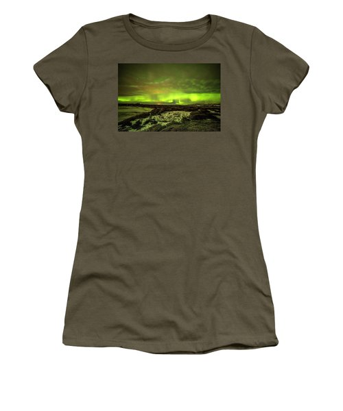 Aurora Borealis Over A Frozen Lake Women's T-Shirt (Athletic Fit)