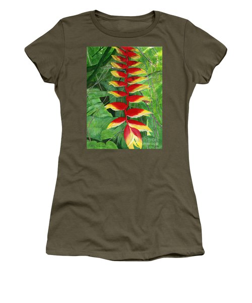 Women's T-Shirt (Junior Cut) featuring the painting Balinese Heliconia Rostrata by Melly Terpening
