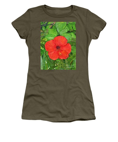 Women's T-Shirt (Junior Cut) featuring the painting Balinese Hibiscus Rosa by Melly Terpening
