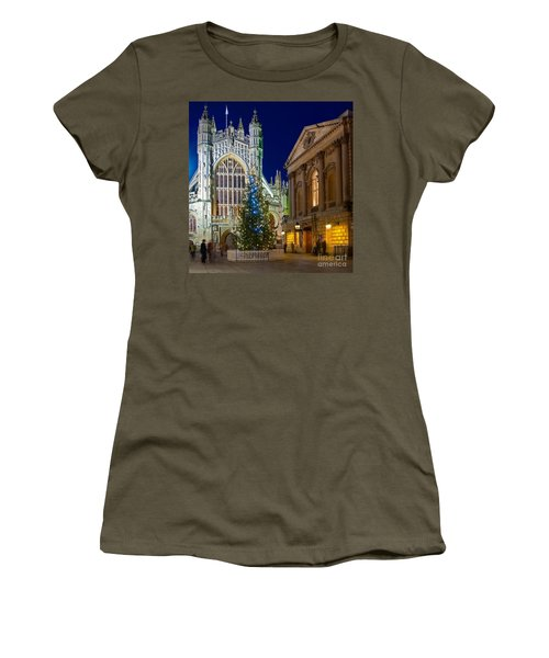 Bath Abbey At Night At Christmas Women's T-Shirt