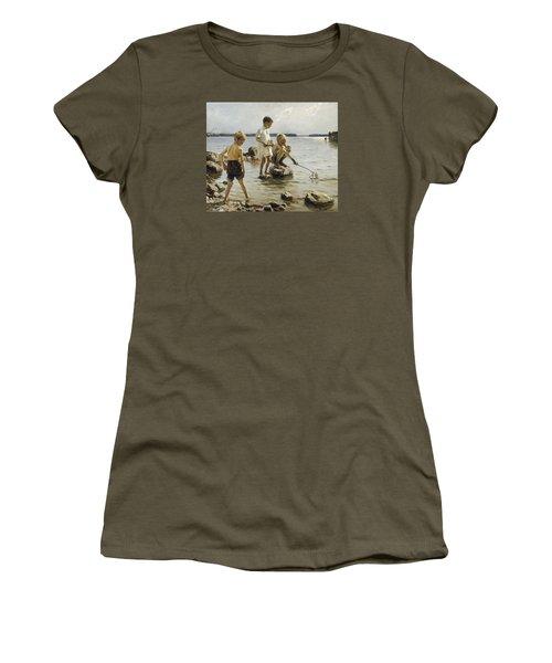 Boys Playing On The Shore Women's T-Shirt (Junior Cut) by Albert Edelfelt
