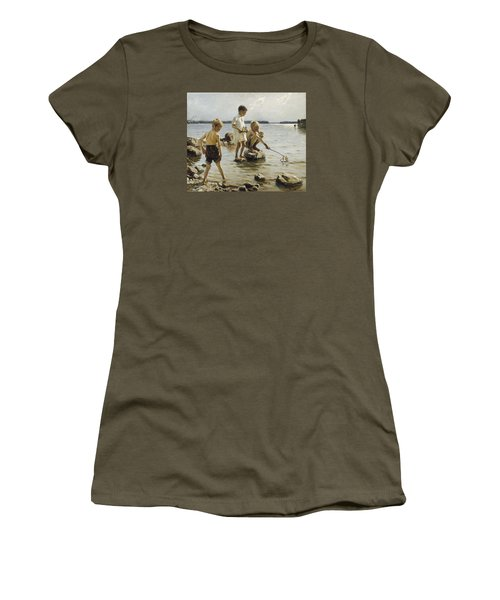 Boys Playing On The Shore Women's T-Shirt (Athletic Fit)