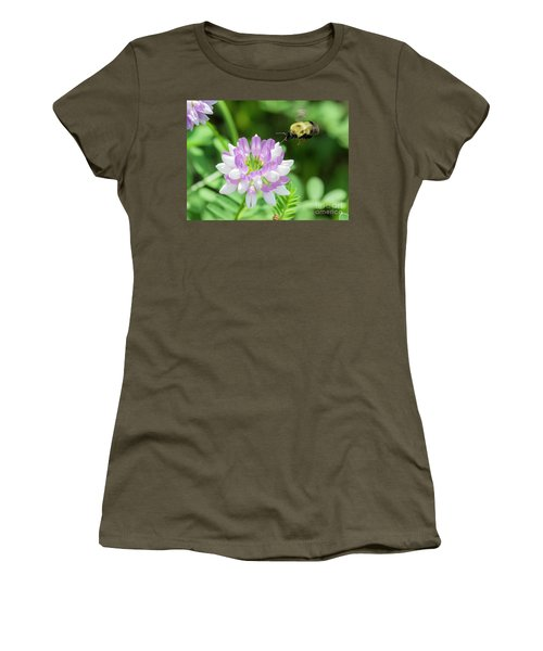 Bumble Bee Pollinating A Flower Women's T-Shirt (Junior Cut) by Ricky L Jones