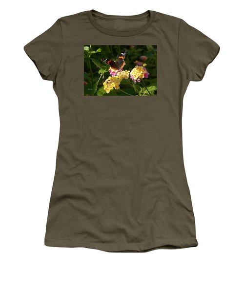 Women's T-Shirt (Junior Cut) featuring the photograph Busy Butterfly Side 2 by Felipe Adan Lerma