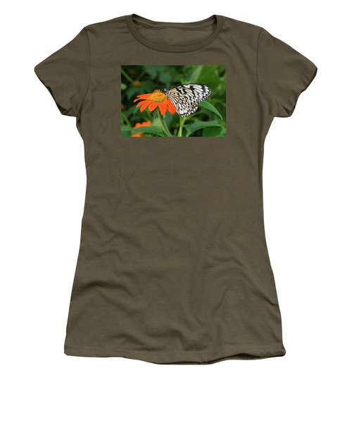 Butterfly On Flower Women's T-Shirt (Junior Cut) by Hans Engbers