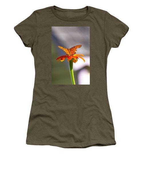 Butterfly On Flower Women's T-Shirt