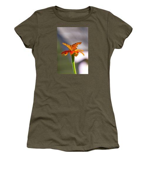 Butterfly On Flower Women's T-Shirt
