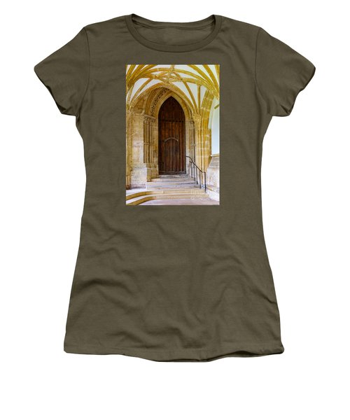 Cloisters, Wells Cathedral Women's T-Shirt (Junior Cut) by Colin Rayner