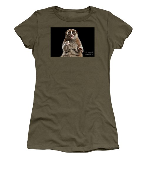Close-up Lemur Slow Loris Isolated Black Background Women's T-Shirt (Athletic Fit)