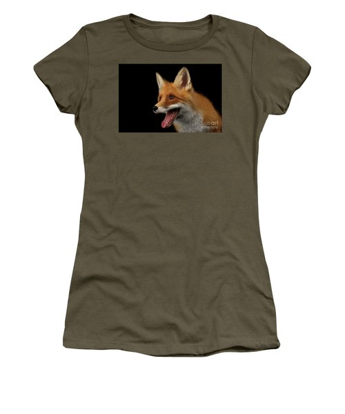 Closeup Portrait Of Smiled Red Fox Isolated On Black  Women's T-Shirt (Junior Cut) by Sergey Taran