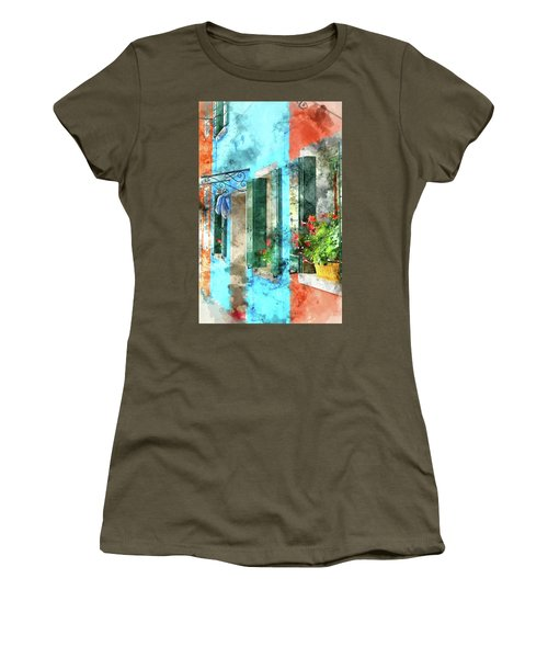 Colorful Houses In Burano Island Venice Italy Women's T-Shirt