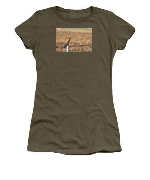 Women's T-Shirt (Junior Cut) featuring the photograph Common Buzzard Along The Highway Nis - Budapest by Jivko Nakev