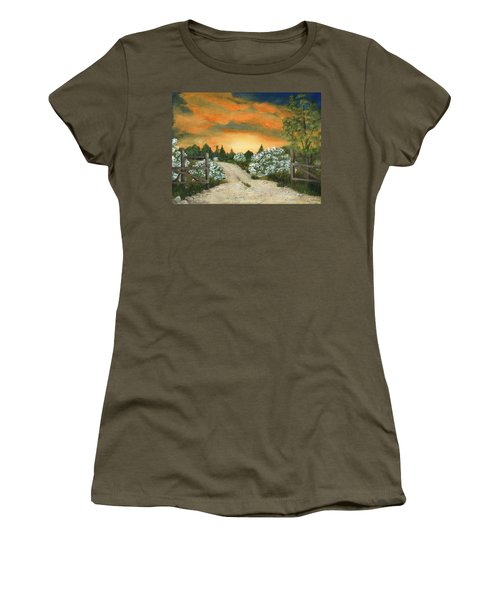 Women's T-Shirt (Athletic Fit) featuring the painting Country Road by Anastasiya Malakhova