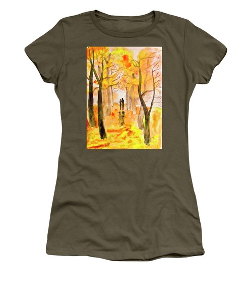 Couple On Autumn Alley, Painting Women's T-Shirt (Athletic Fit)