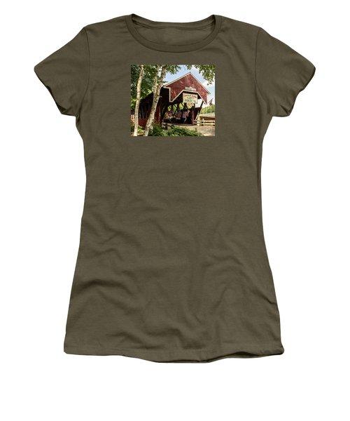Covered Bridge Gift Shoppe Women's T-Shirt (Junior Cut) by Sherman Perry