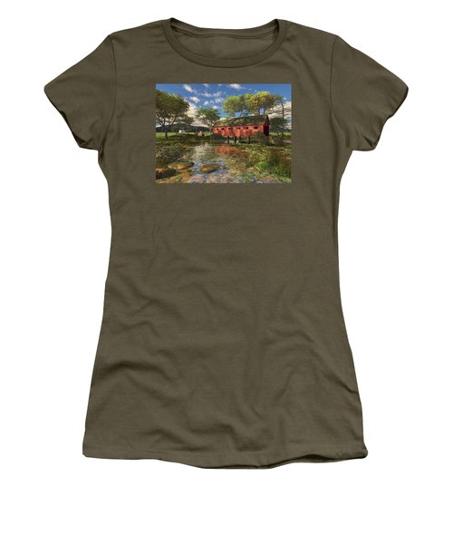 Women's T-Shirt (Athletic Fit) featuring the digital art Covered Bridge by Mary Almond