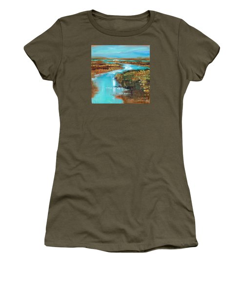 Women's T-Shirt (Junior Cut) featuring the painting Curve In The Waterway by Linda Olsen