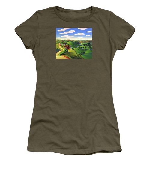 Women's T-Shirt (Junior Cut) featuring the painting Dairy Farm  by Robin Moline