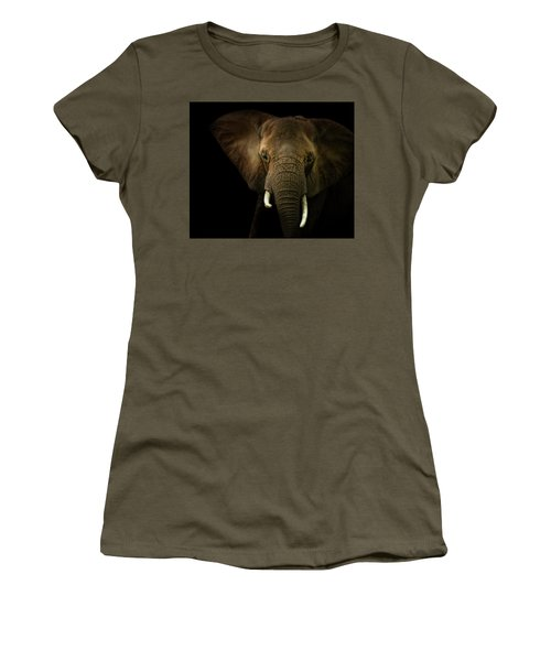 Elephant Against Black Background Women's T-Shirt (Junior Cut) by James Larkin