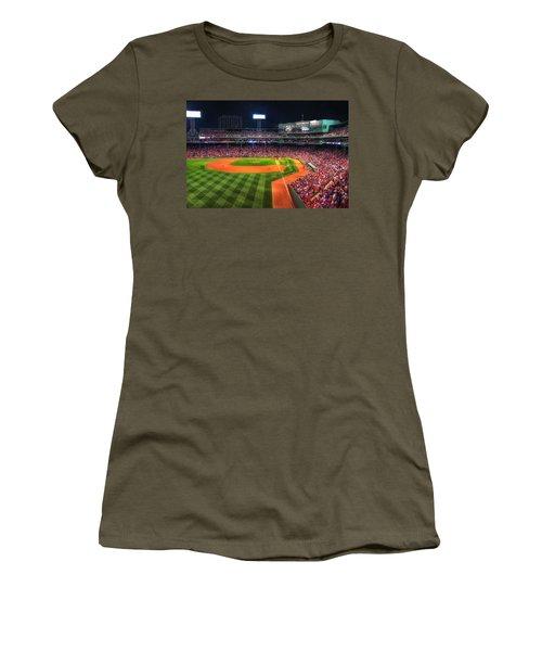 Fenway Park At Night - Boston Women's T-Shirt (Junior Cut) by Joann Vitali