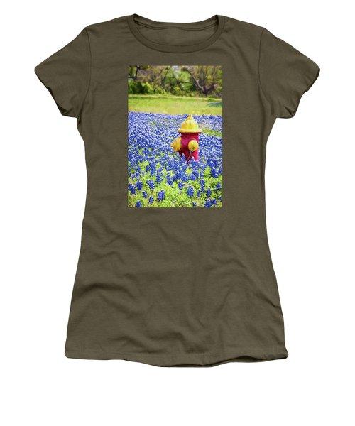 Fire Hydrant In The Bluebonnets Women's T-Shirt