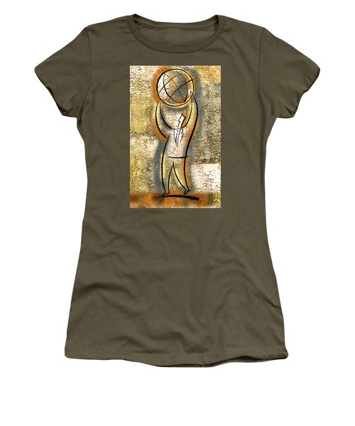 Women's T-Shirt (Junior Cut) featuring the painting Globalization  by Leon Zernitsky