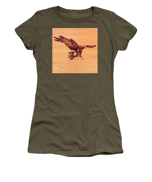 Women's T-Shirt (Junior Cut) featuring the pyrography Golden Eagle by Ron Haist