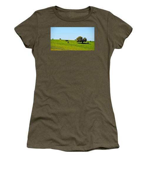 Women's T-Shirt (Junior Cut) featuring the photograph Grazing In The Grass by AJ Schibig