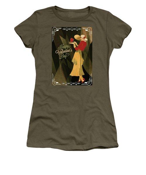 Women's T-Shirt (Junior Cut) featuring the digital art Happy Valentines Day by Jeff Burgess