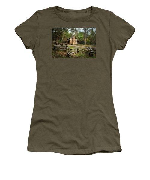 John Oliver Cabin Cades Cove Women's T-Shirt (Junior Cut) by Lena Auxier