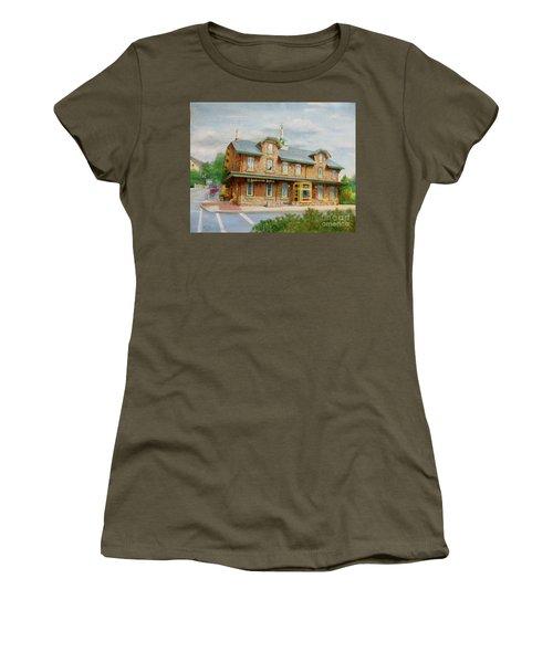 Women's T-Shirt (Junior Cut) featuring the painting Lambertville Inn by Oz Freedgood