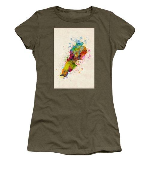 Lebanon Watercolor Map Women's T-Shirt