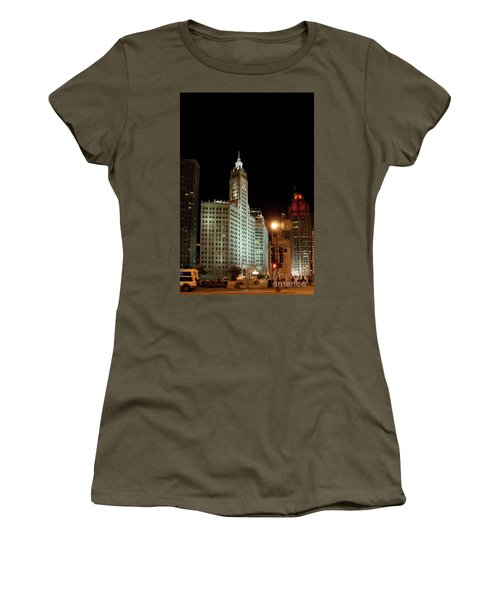 Looking North On Michigan Avenue At Wrigley Building Women's T-Shirt