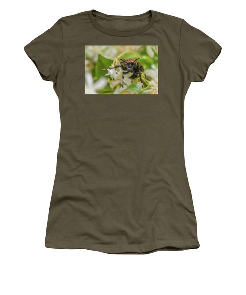 Women's T-Shirt (Junior Cut) featuring the photograph Mammoth Wasp Megascolia Maculata Maculata by Jivko Nakev