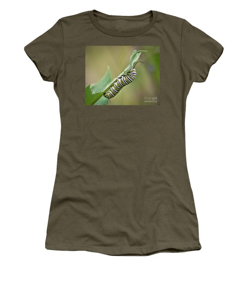 Women's T-Shirt (Athletic Fit) featuring the photograph Monarch Caterpillar by Kerri Farley