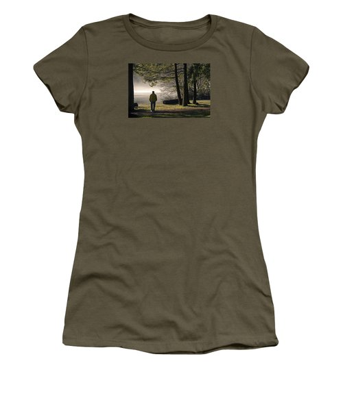 Women's T-Shirt (Junior Cut) featuring the photograph Morning Walk by Inge Riis McDonald