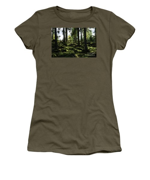 Women's T-Shirt (Athletic Fit) featuring the photograph Mossy Rocks by Kennerth and Birgitta Kullman