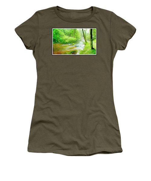 Mountain Stream, Pocono Mountains, Pennsylvania Women's T-Shirt (Athletic Fit)