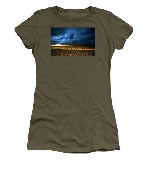 Women's T-Shirt (Athletic Fit) featuring the photograph Icelandic Night  by Dubi Roman
