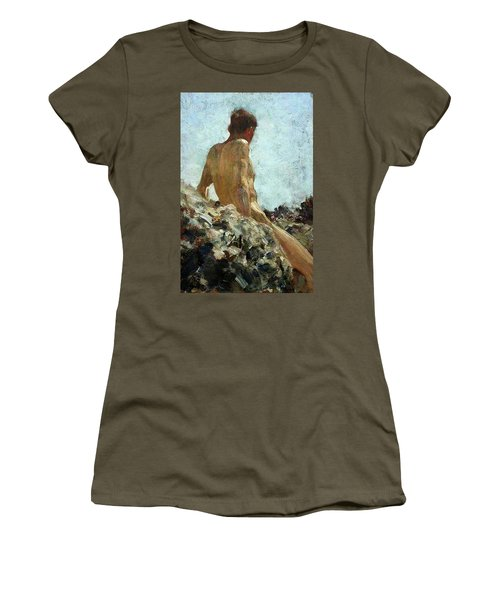 Women's T-Shirt (Junior Cut) featuring the painting Nude Study by Henry Scott Tuke