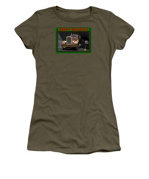 Women's T-Shirt (Junior Cut) featuring the digital art Ol' Pete Happy Holidays by Stuart Swartz